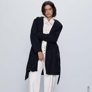 Zara Belted Coat with Hood in Black